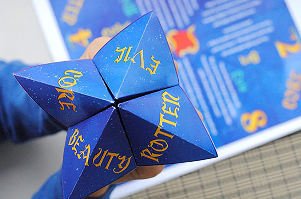 Descendants printable fortune teller that has been folded and ready to play.