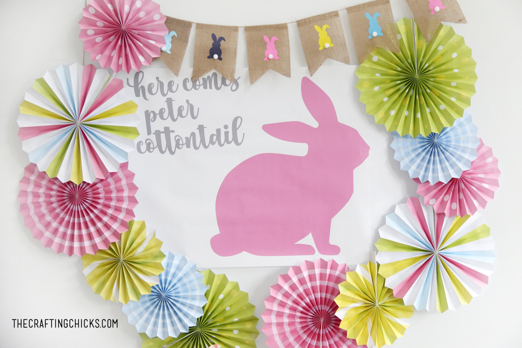 Easter table for kids with big Pink bunny printable backdrop