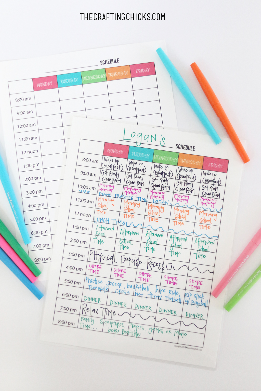 Kids Weekly Planner Templates   The Crafting Chicks
