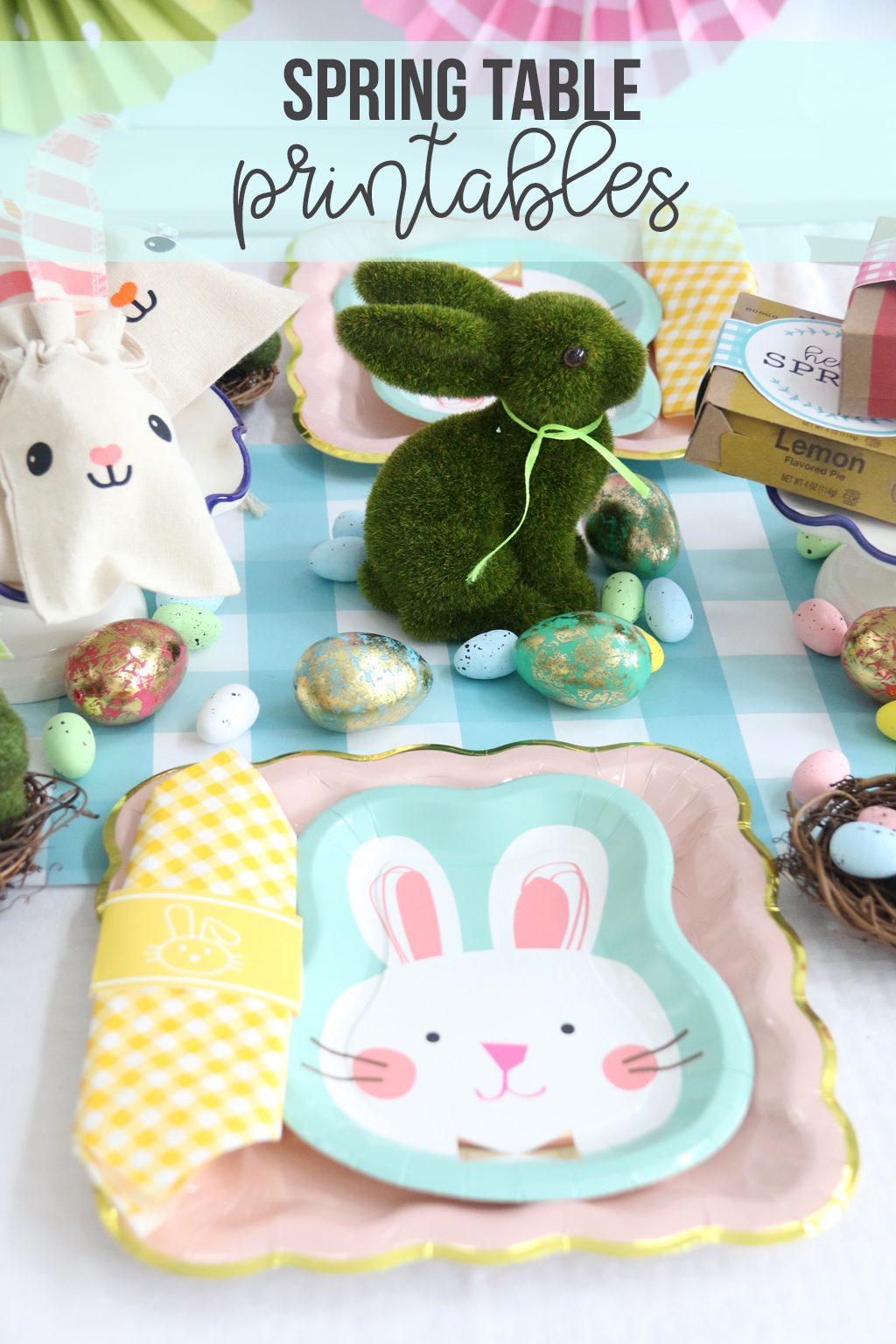 Easter table for kids with bunny paper plates, yellow gingham napkin and bunny decorations