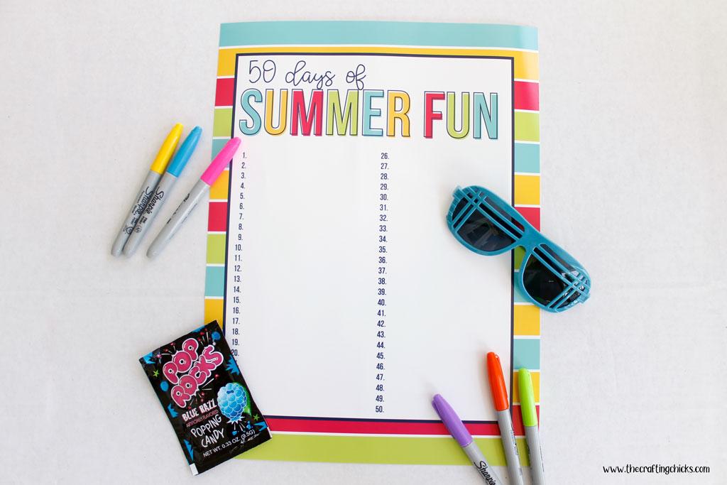 Blank 50 Days of Summer fun Chart