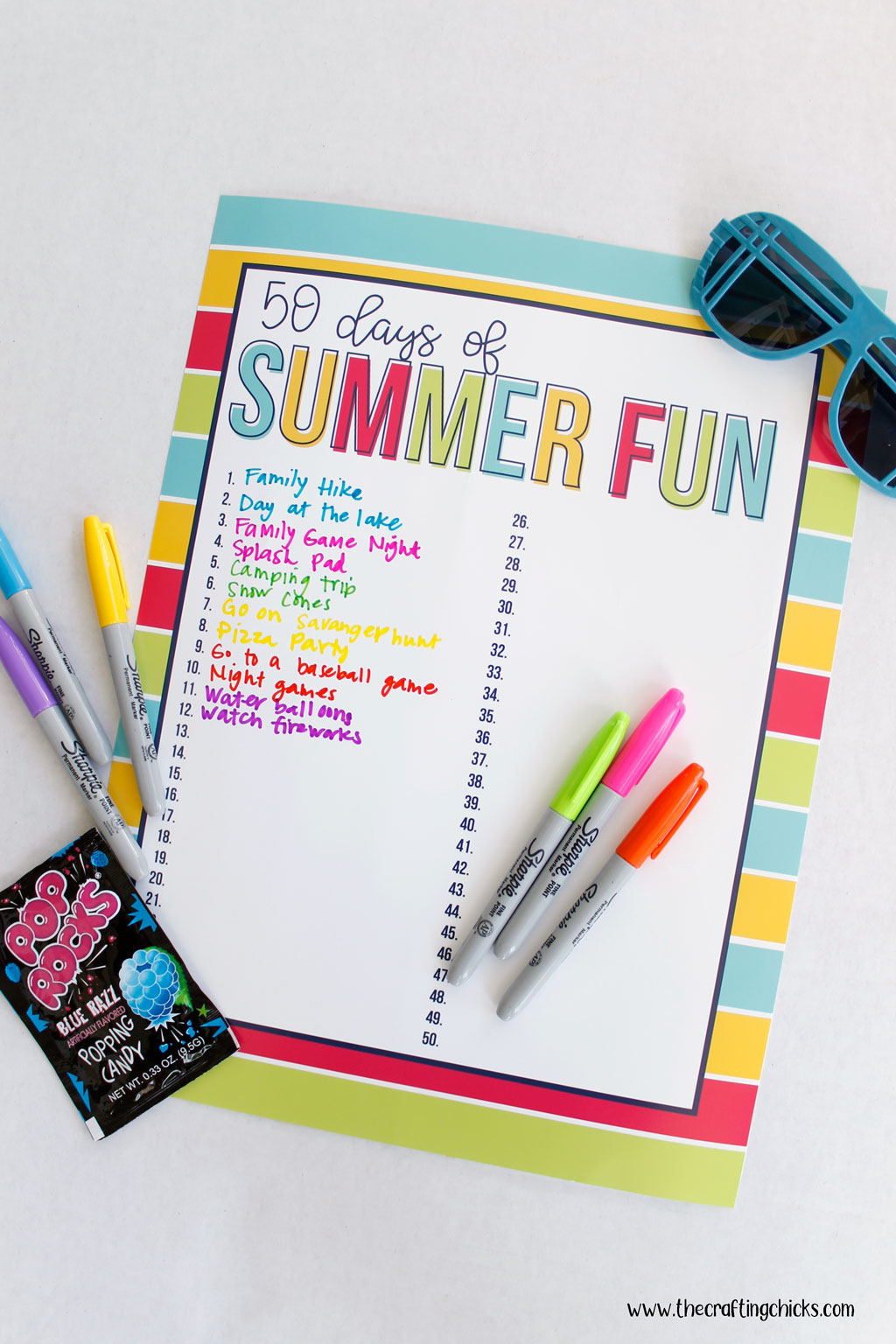 List started on the 50 Days of Summer Fun Chart