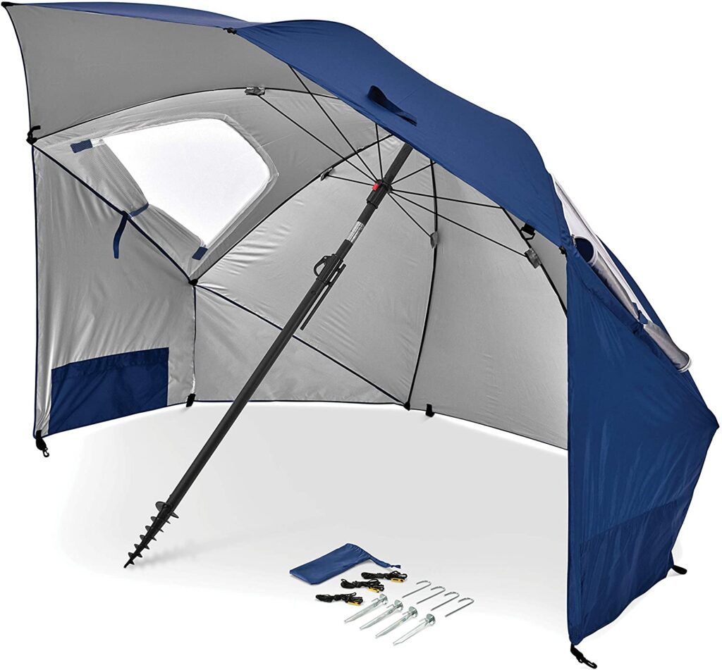 Blue Sportsbrella with all the equipment that comes with it. Something all sports moms must have