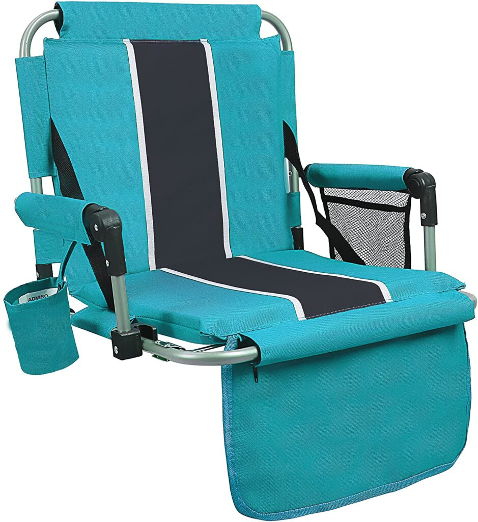Stadium seat in teal and gray perfect for a sports mom.