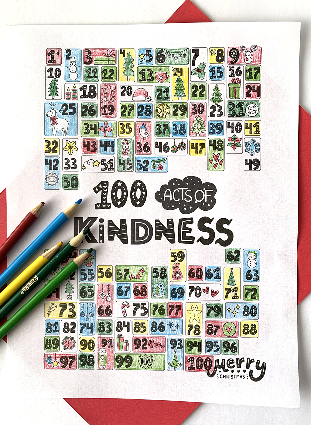 100 Acts of Kindness Coloring Countdown