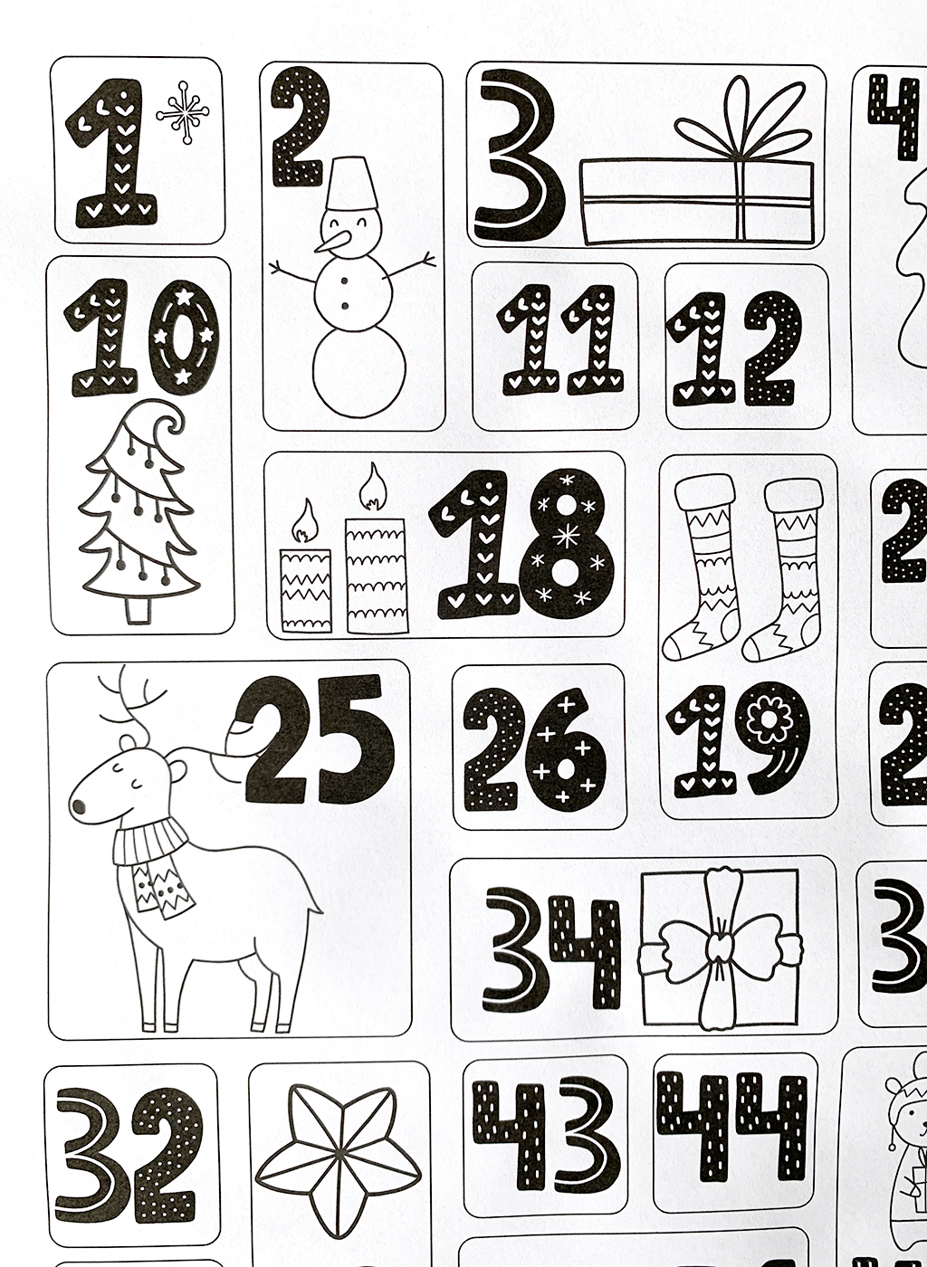 100 acts of kindness coloring countdown black and white print out.