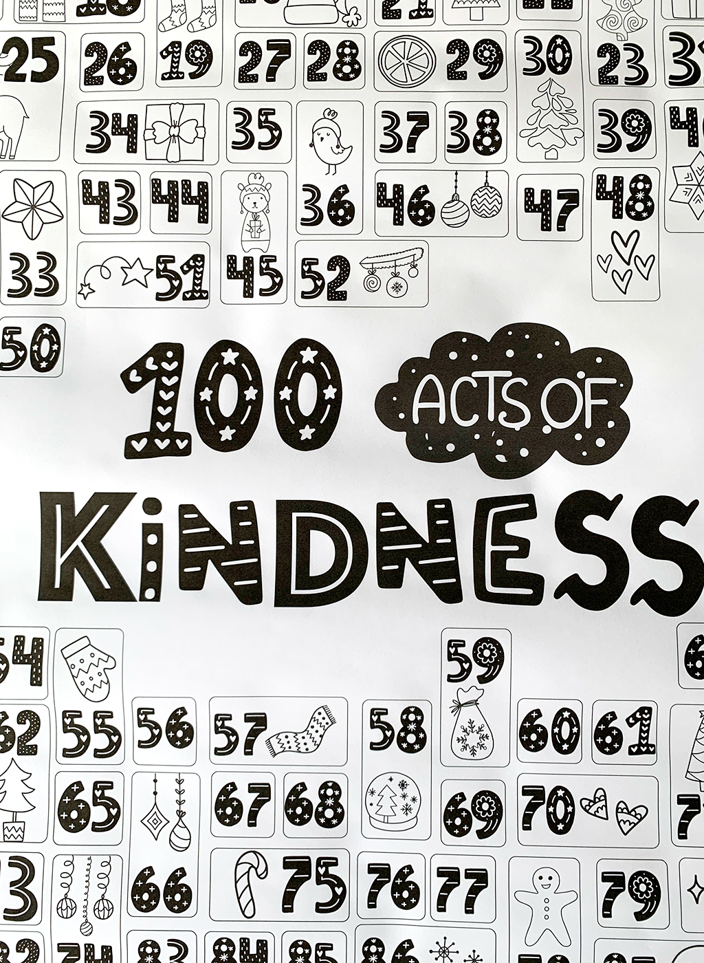 Black and white copy of 100 Acts of kindness countdown coloring page