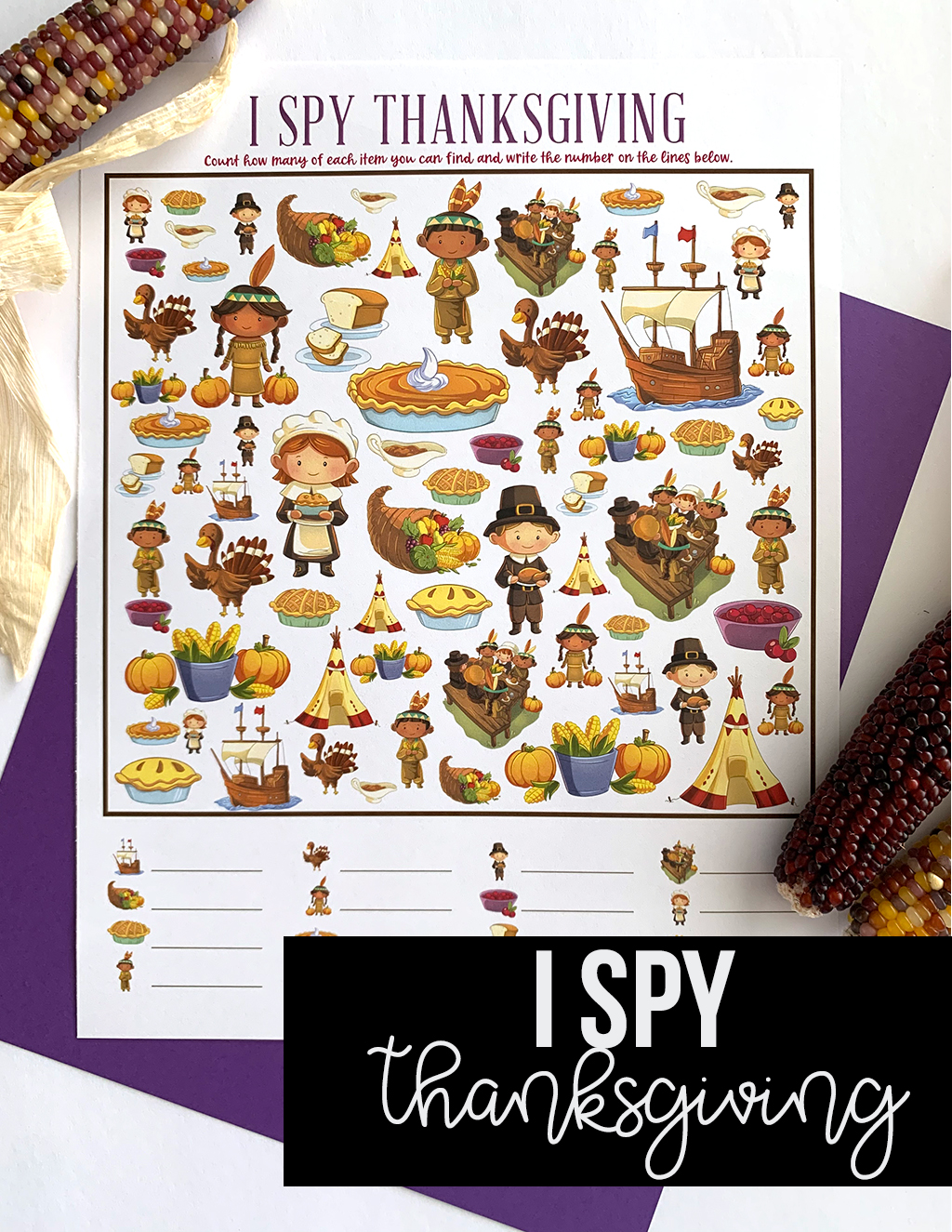 Free Printable I-Spy Thanksgiving Game with Indian corn and purple paper background.