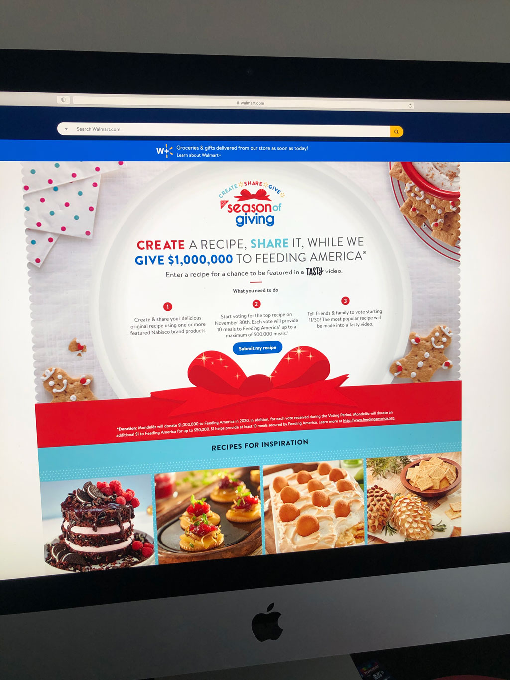 Walmart Create Share Give website where you can enter your recipe