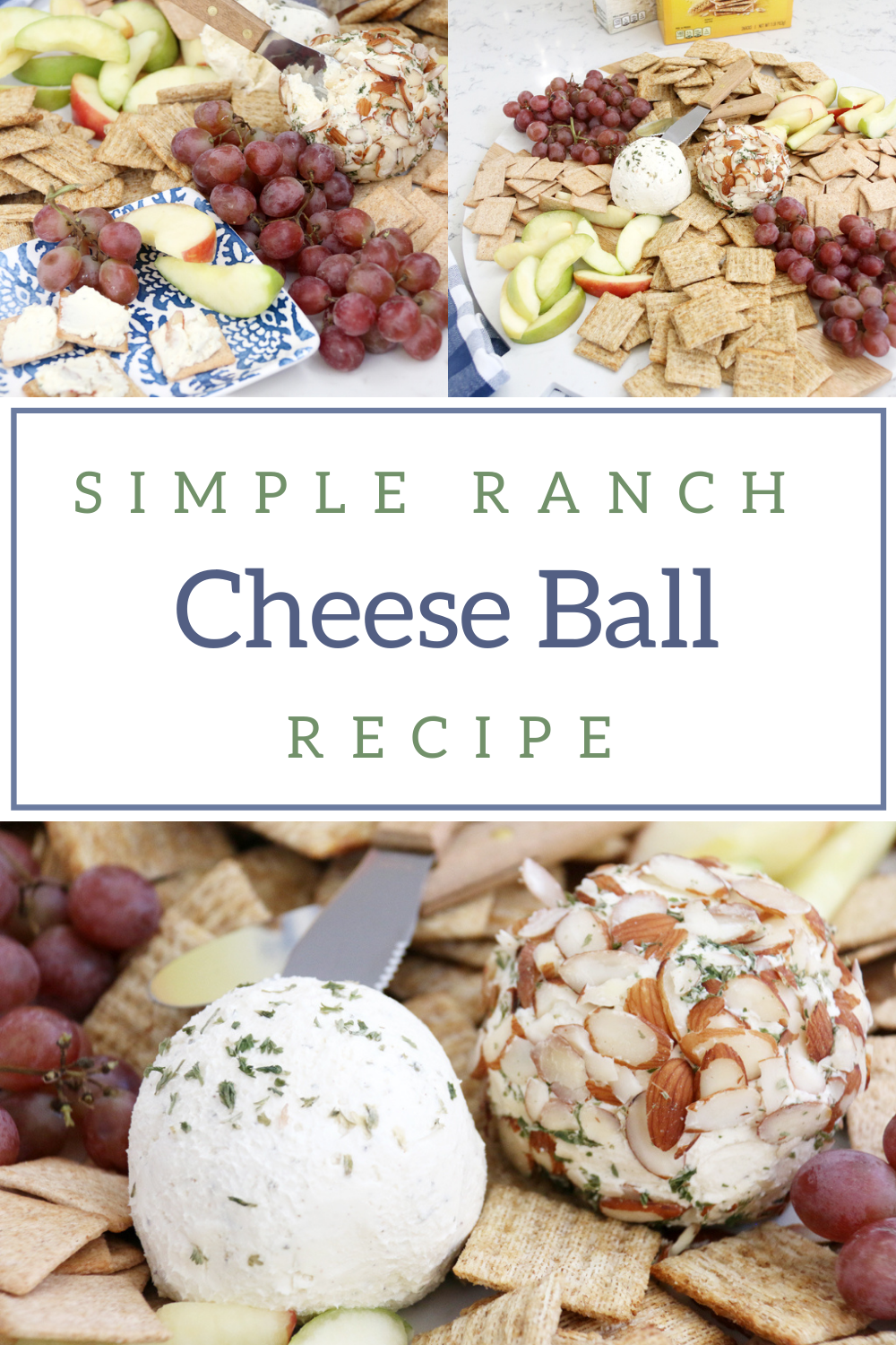 Simple Ranch Cheese Ball Recipe perfect for holiday parties