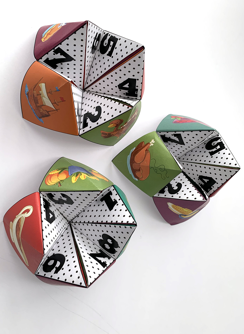 Thanksgiving Cootie Catchers on white background