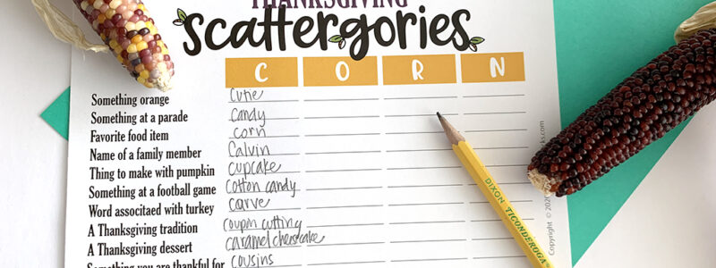 Thanksgiving Scattergories free printable game