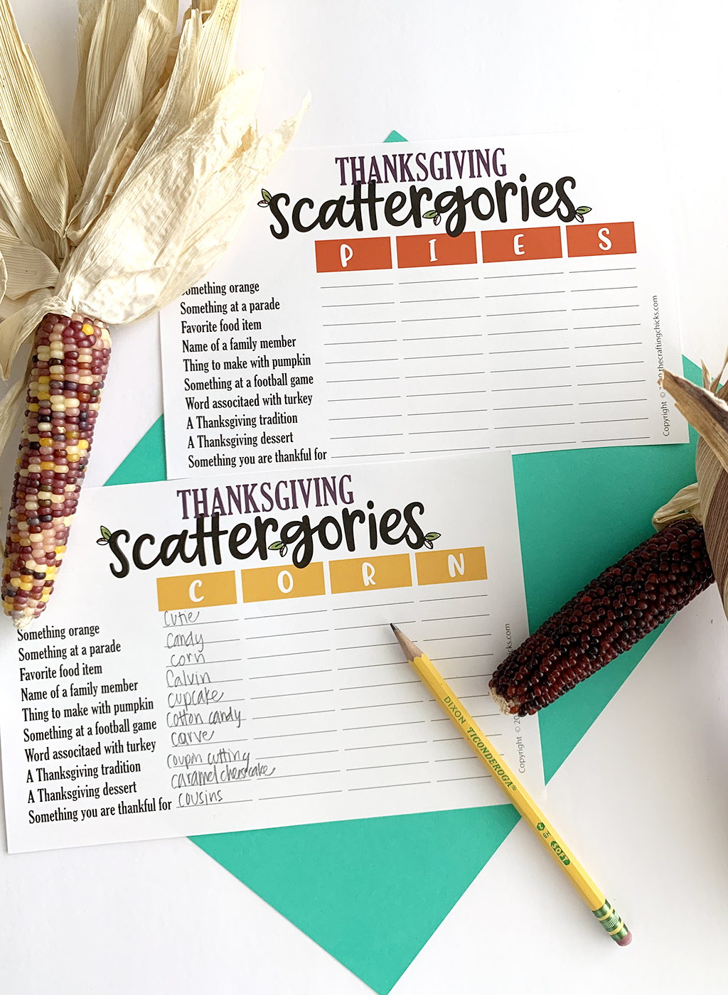 Thanksgiving Scattergories printable games