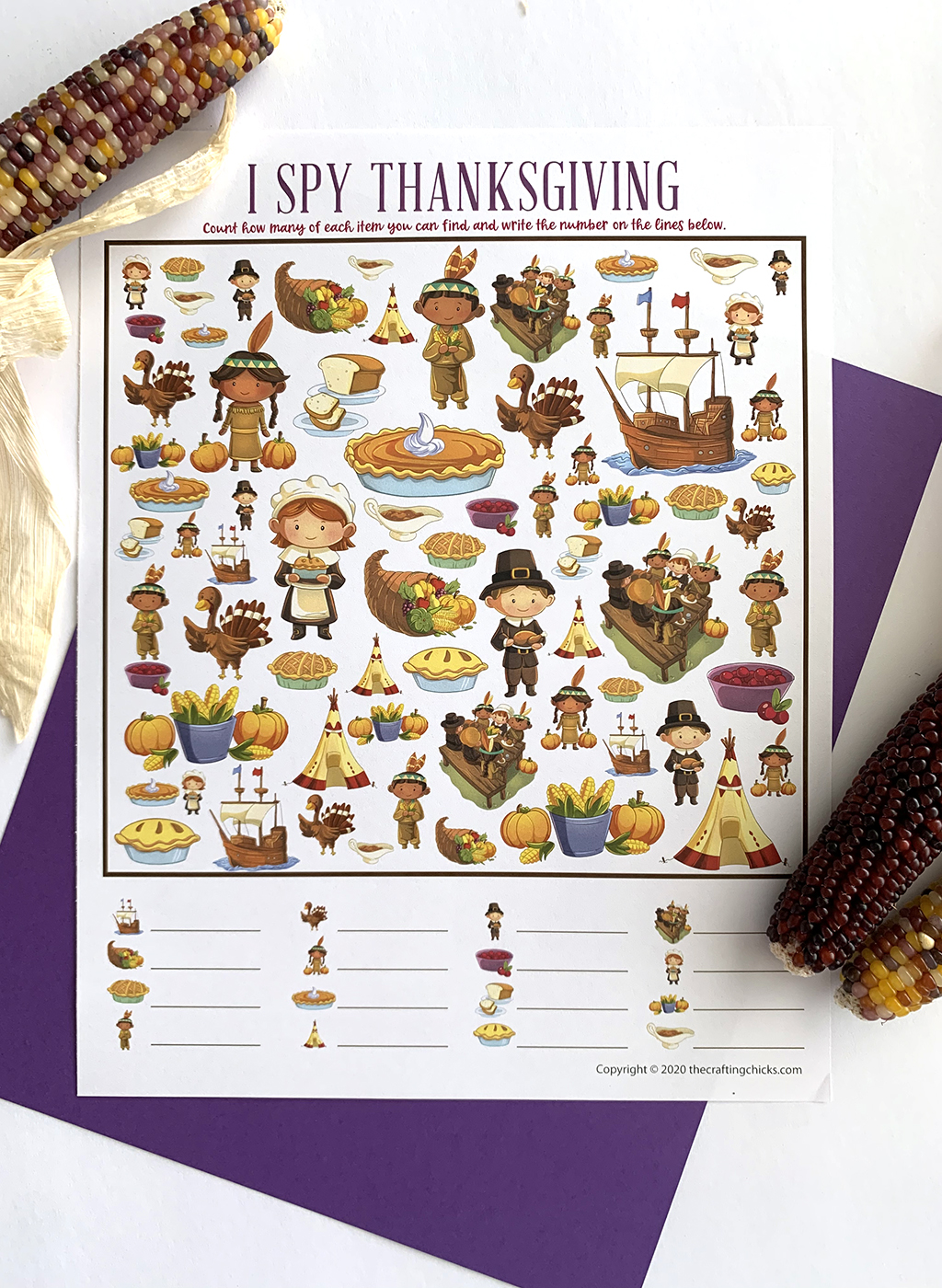 I Spy Thanksgiving Printable game on a purple paper background