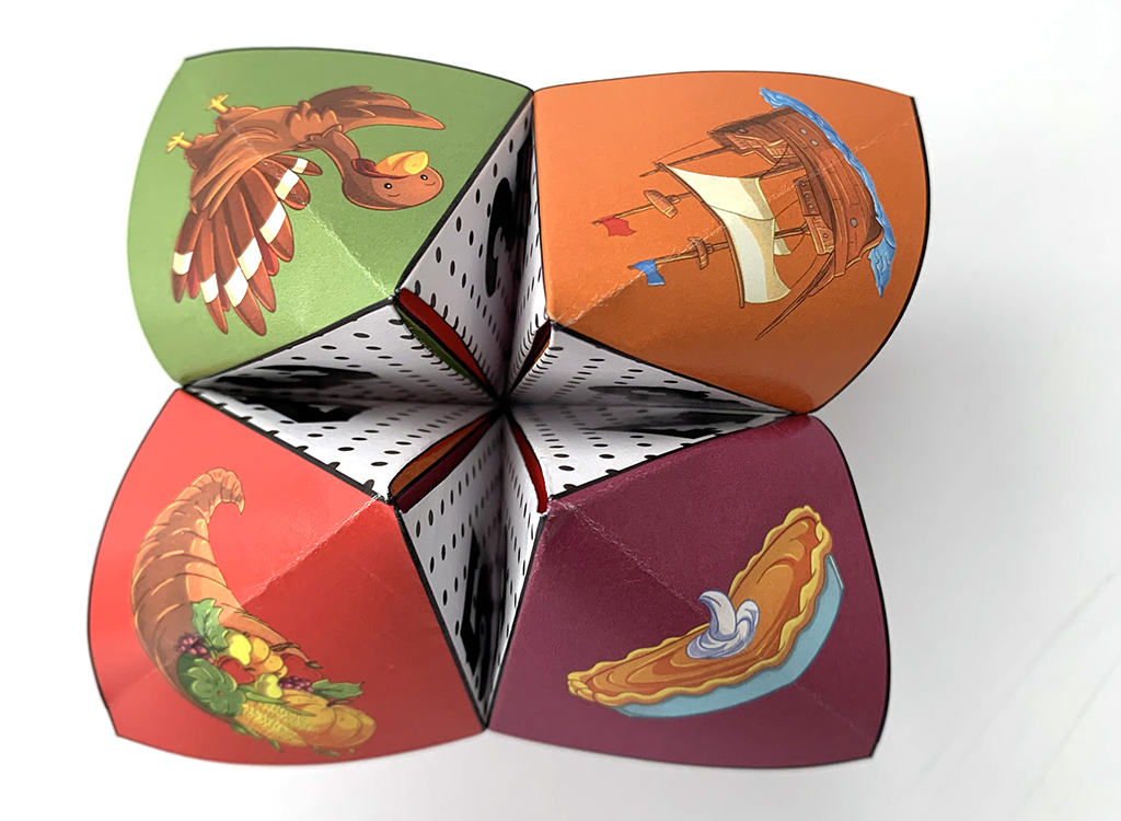 Cute Thanksgiving Cootie Catcher on white background