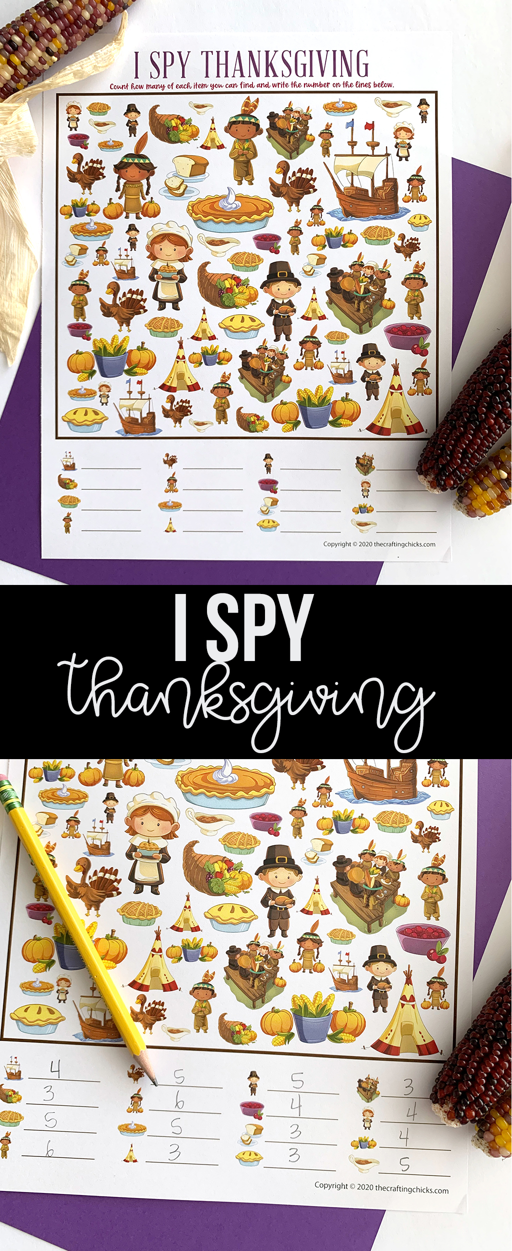 Keep those kids, big and small, busy with our Thanksgiving I-Spy Free Printable Game. Perfect for before or after the turkey, or anytime during the month of November.#thanksgiving #thanksgivingprintables #thanksgivingprintablegame