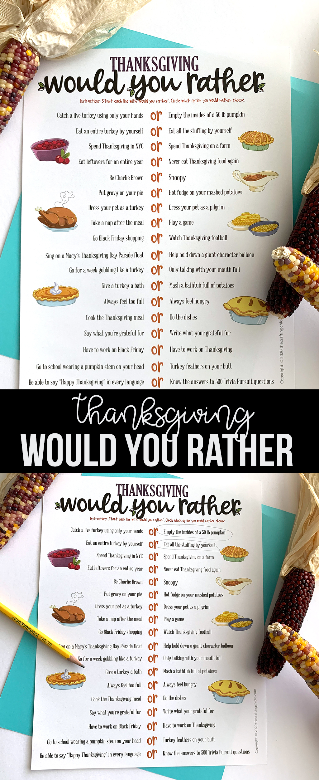 Need a fun game to play around your Thanksgiving table? Our Thanksgiving Would You Rather Free Printable Game will have everyone laughing. #thanksgiving #thanksgivinggame #thanksgivingprintable