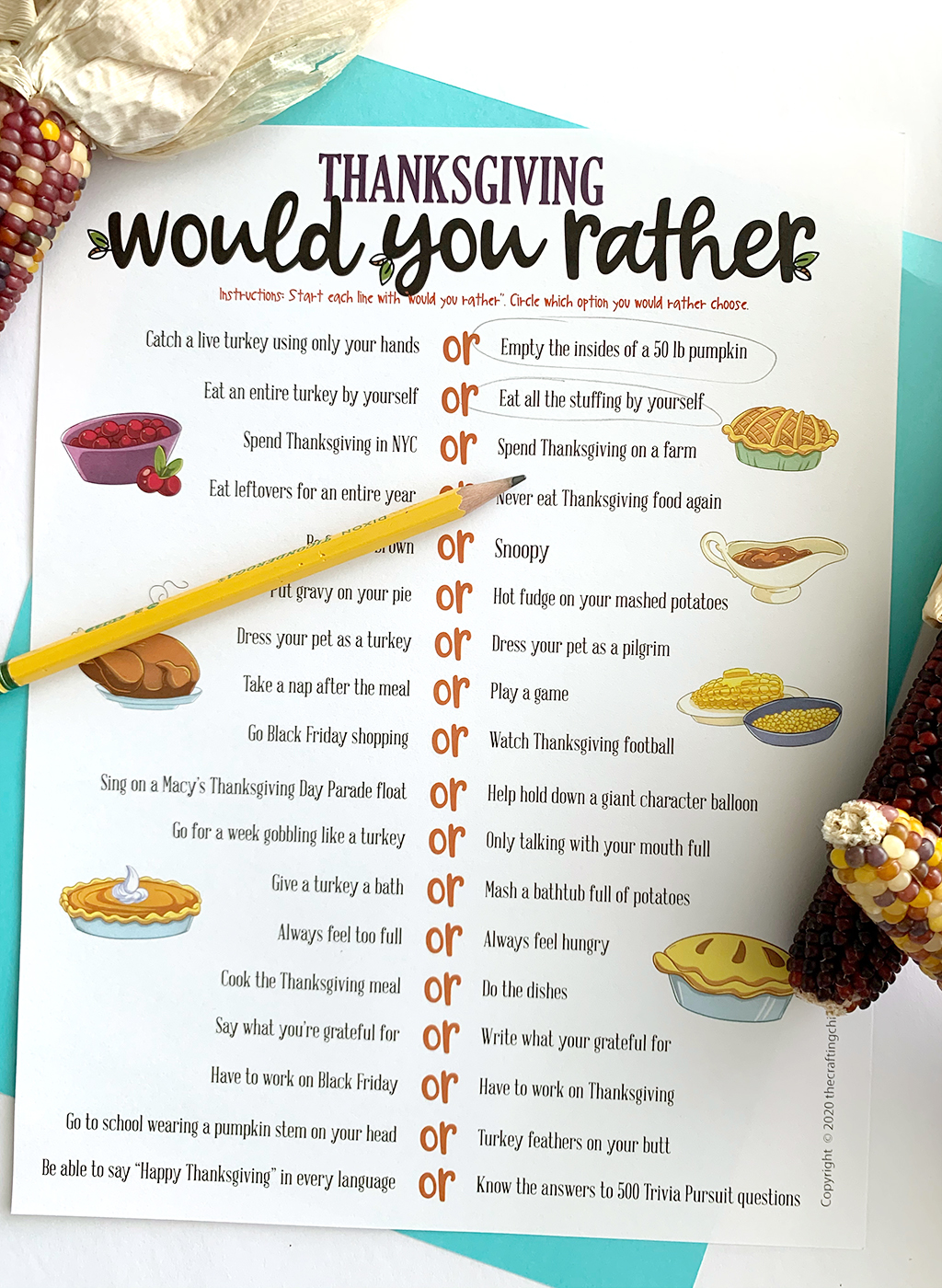 Would You Rather Thanksgiving Free Printable game on a blue background with preferences circled