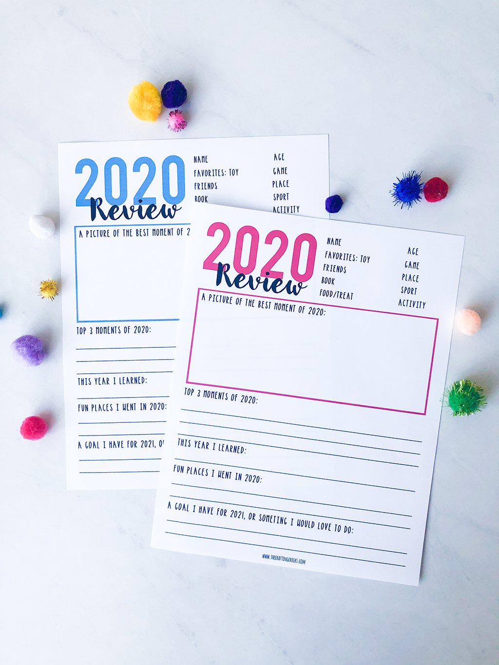 Year in Review printables on a white background with blue and pink type.