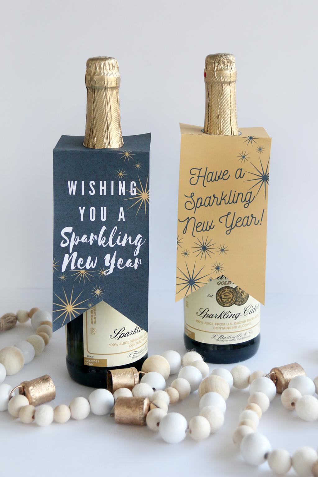 New Year Sparkling Cider Gift Tags on bottles of sparkling cider