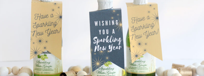 Wishing you a Sparkling New Year tag for sparkling cider.