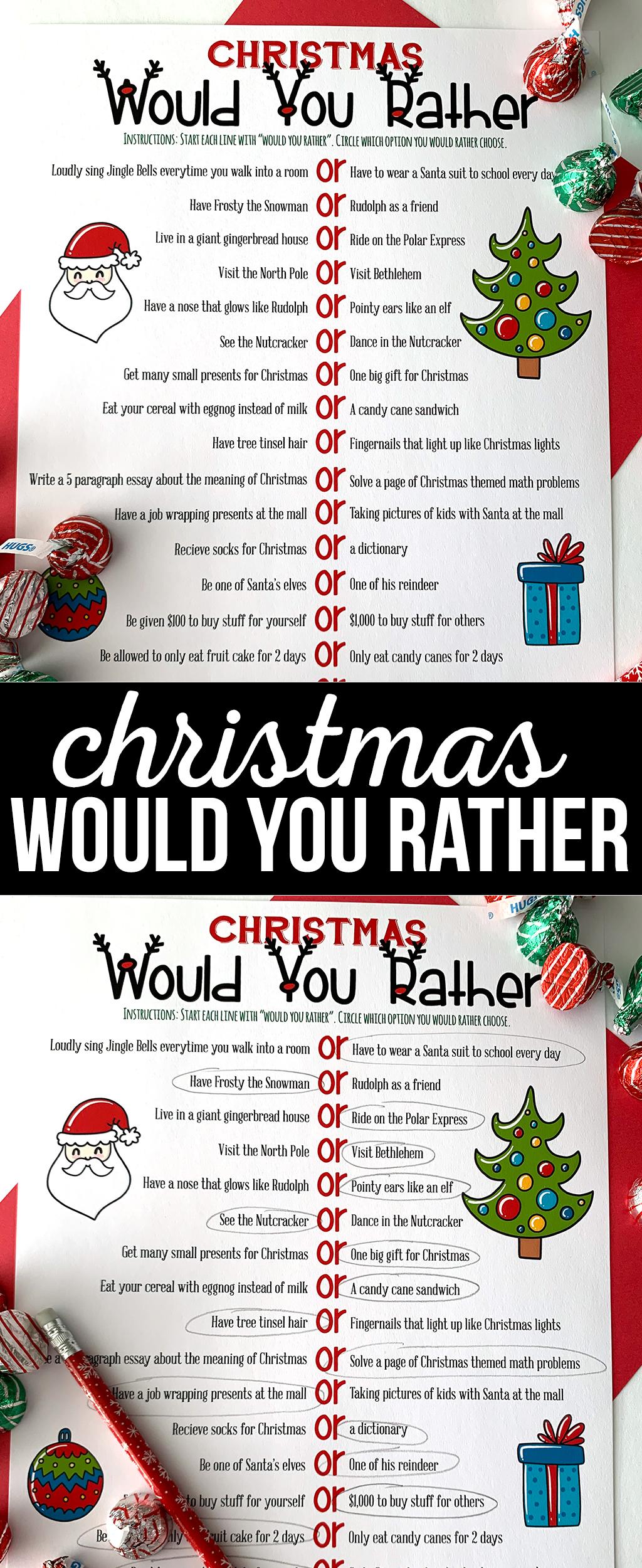 Christmas Would You Rather Free Printable Game