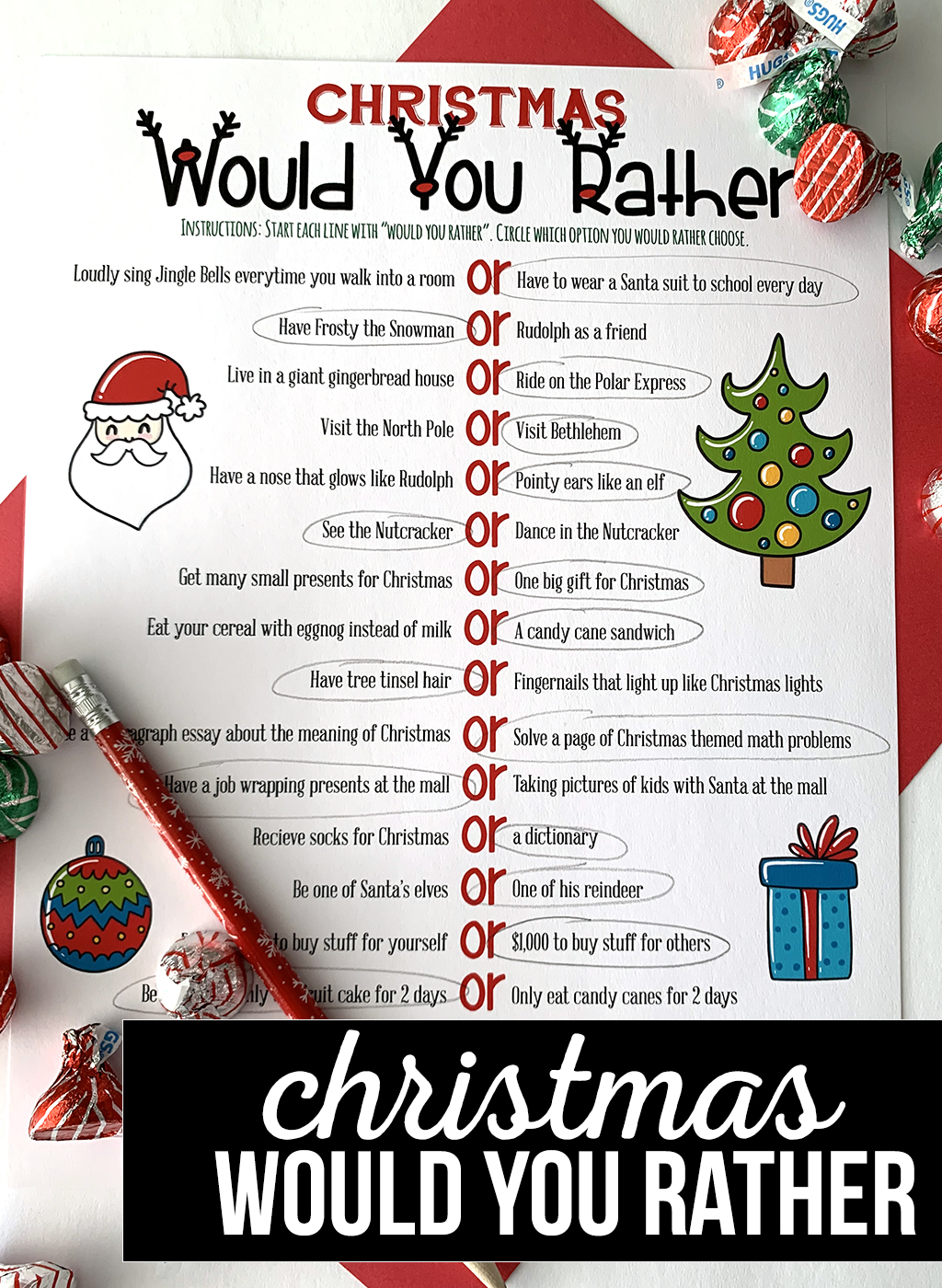 Christmas Would You Rather Free Printable Game
