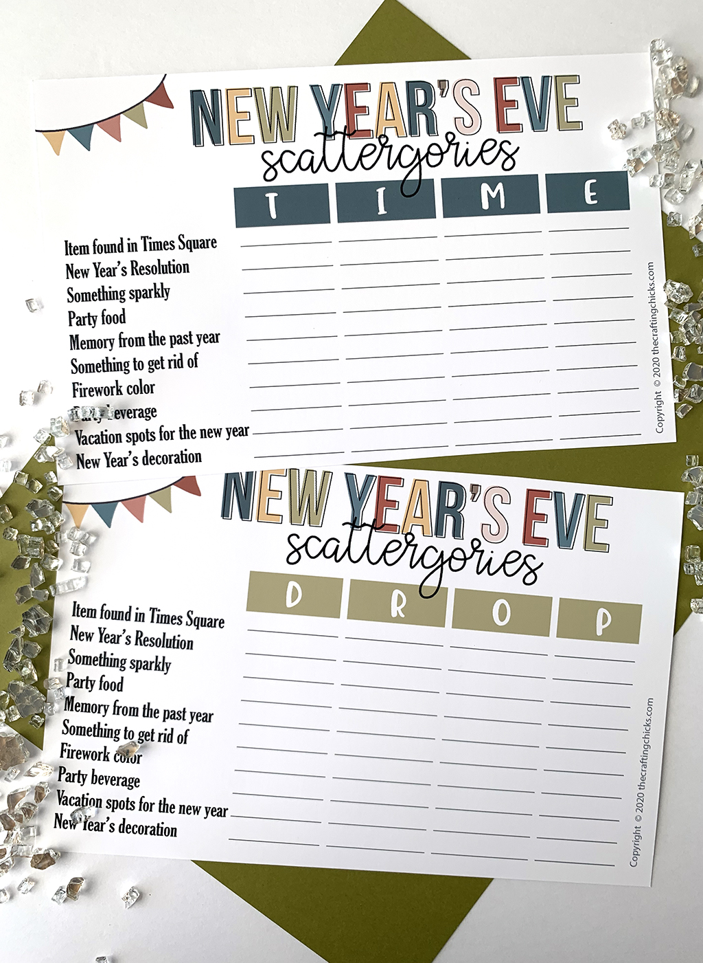 New Year S Eve Scattergories Printable Game The Crafting Chicks