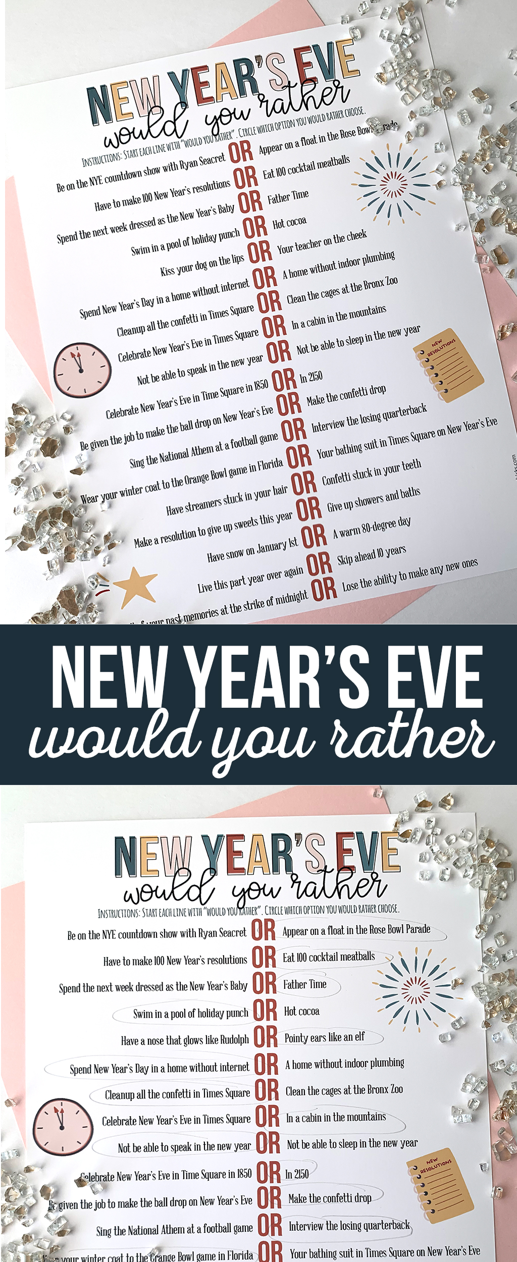New Year's Eve Would you Rather Printable