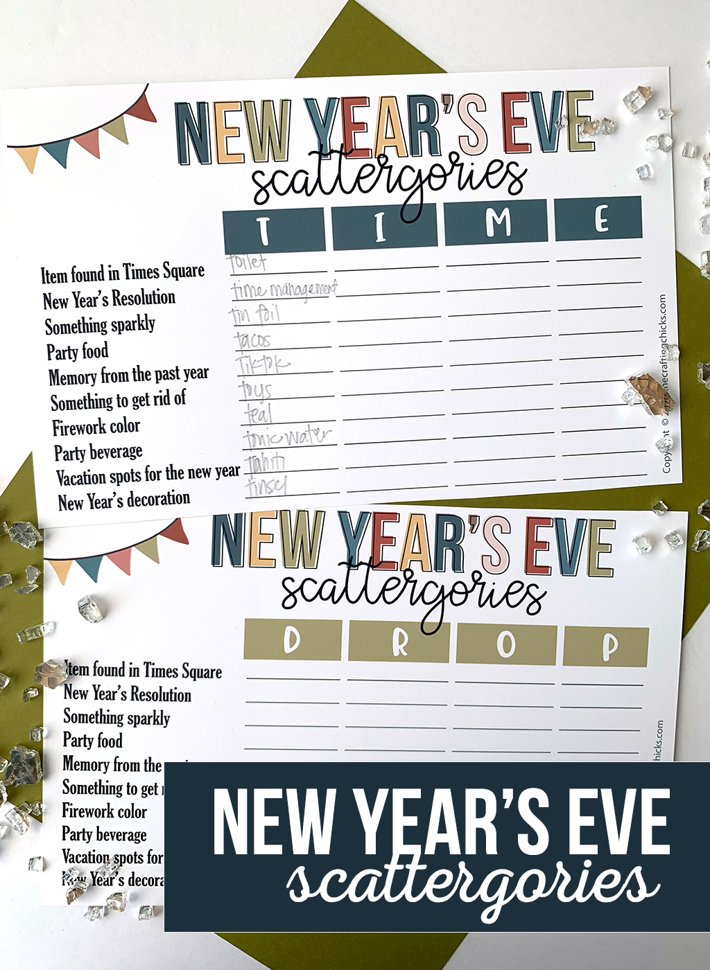 New Years Eve Scattergories Printable Game