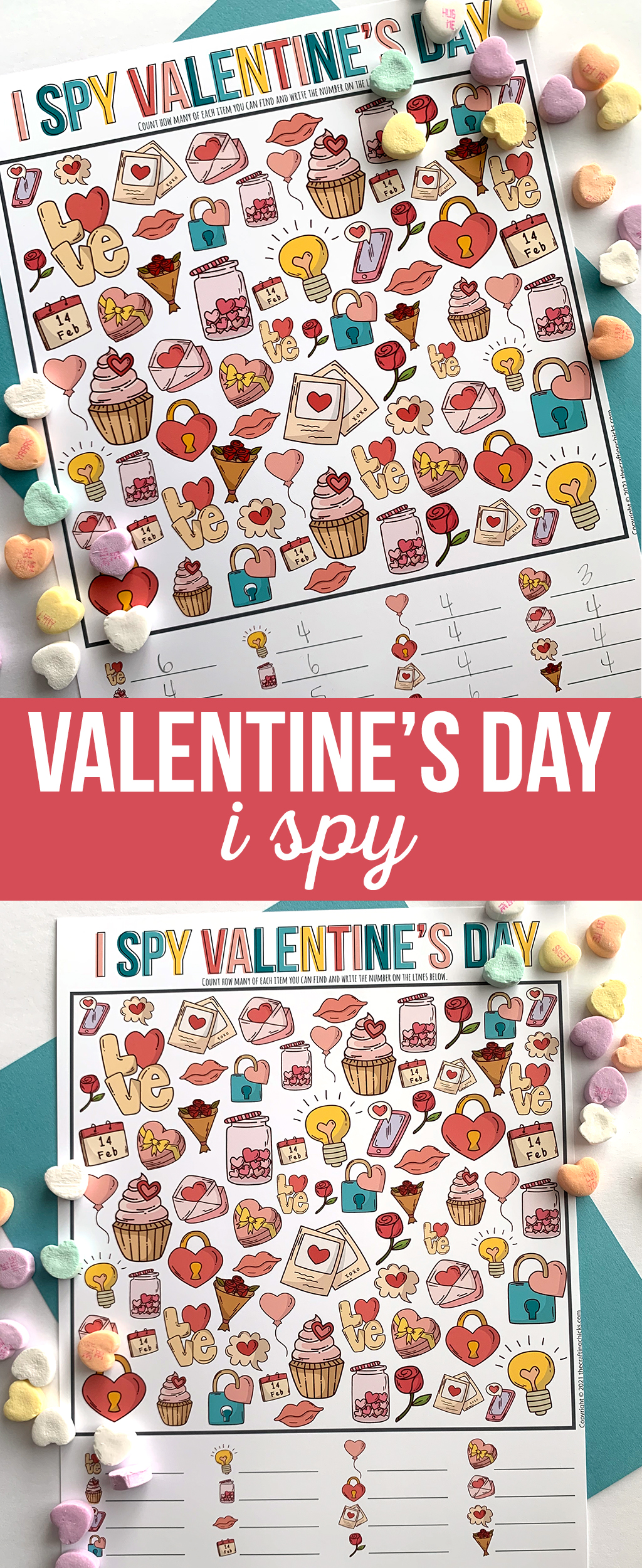 I Spy Valentine Free printable on a teal backdrop with conversation heart candies.