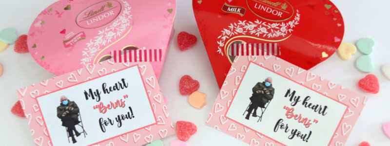 "A Free My Heart ""Berns"" For You Free Printable Valentine Tag attached to Lindor Valentine Chocolates"