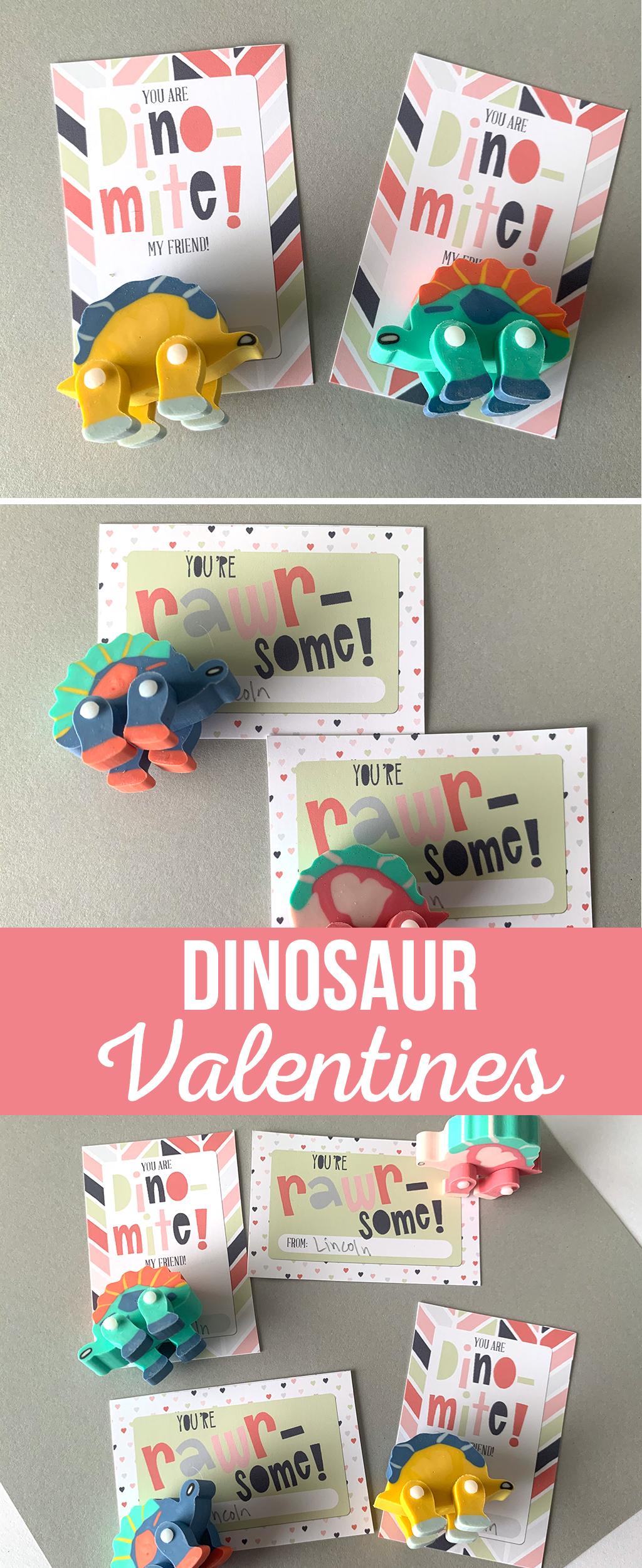 Dinosaur Valentines on a gray background with Dinosaur erasers.