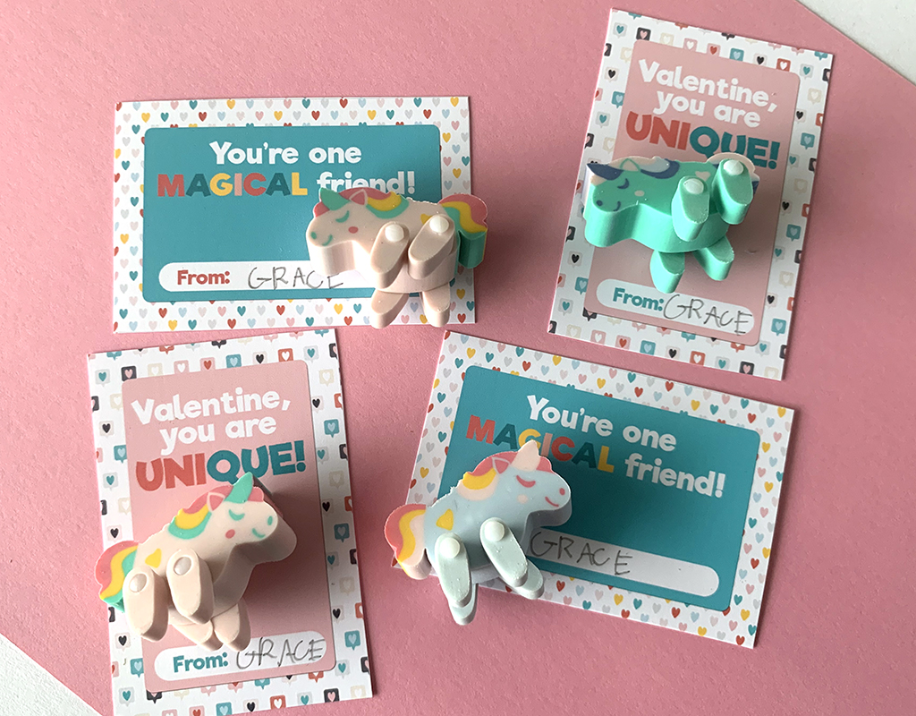 Unicorn Valentien Printables on a pink background