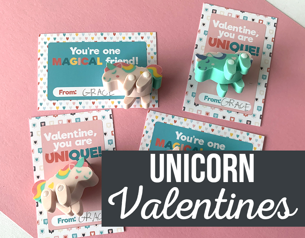 Unicorn Printable Valentines on a pink background