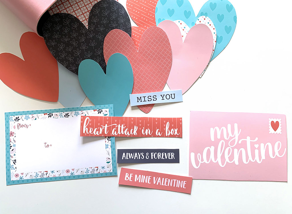 Valentine word art in black, white, read, pink, and teal with hearts on a white background