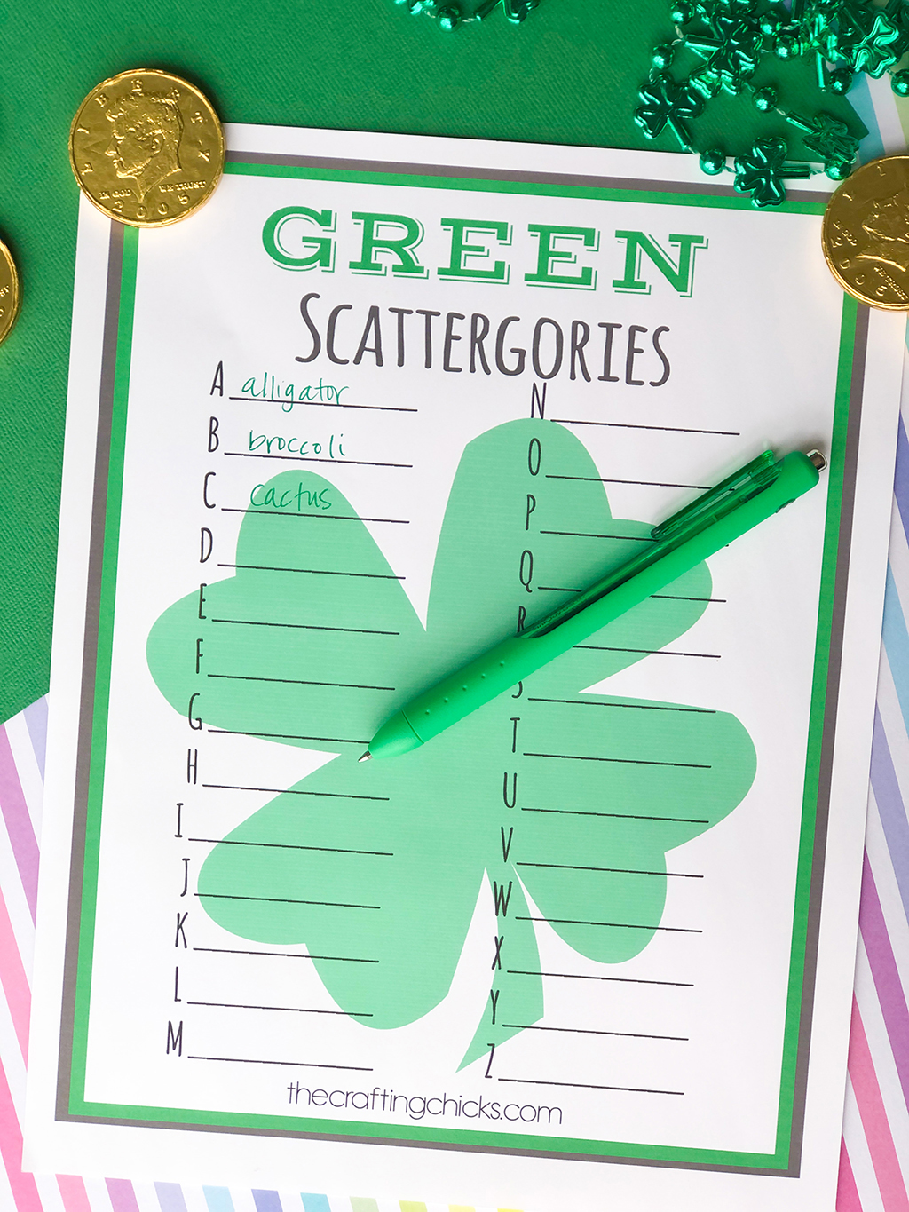 St. Patrick's Day GREEN Scattergories *Free Printable on green and rainbow background with gold coins