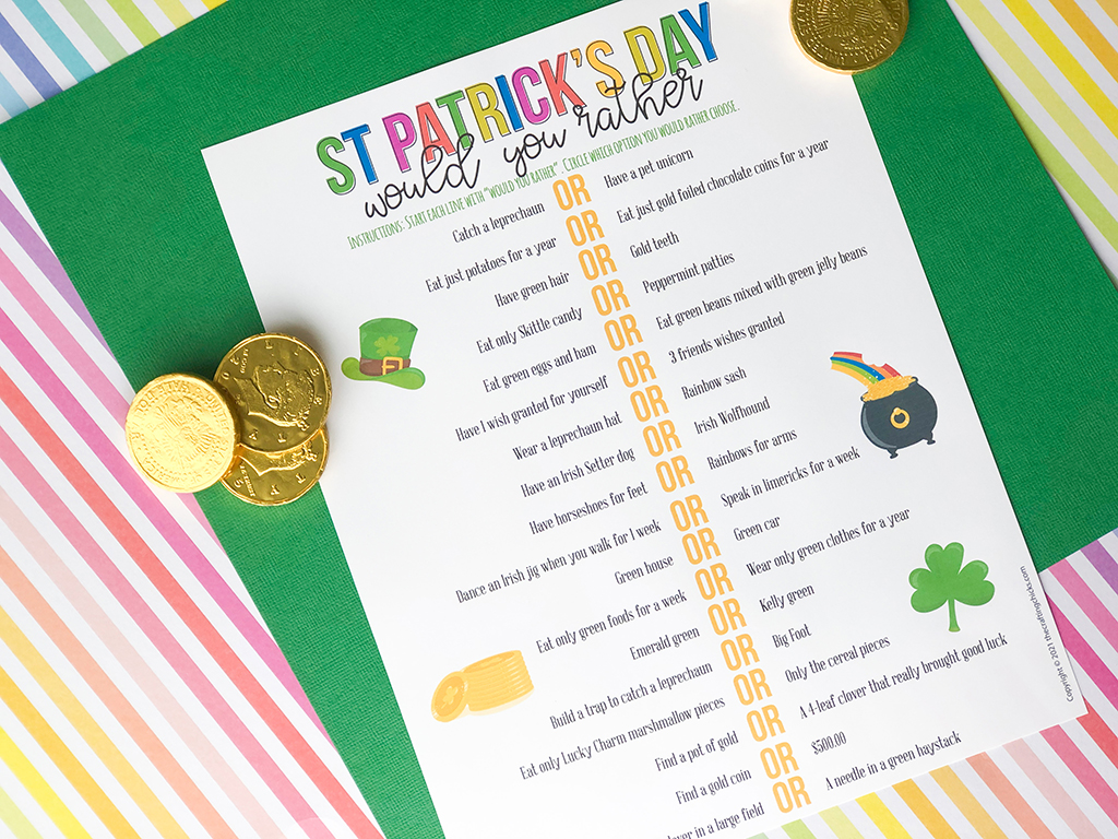 St. Patrick's Day Would You Rather on a rainbow colored, and a green paper background with gold coins around.