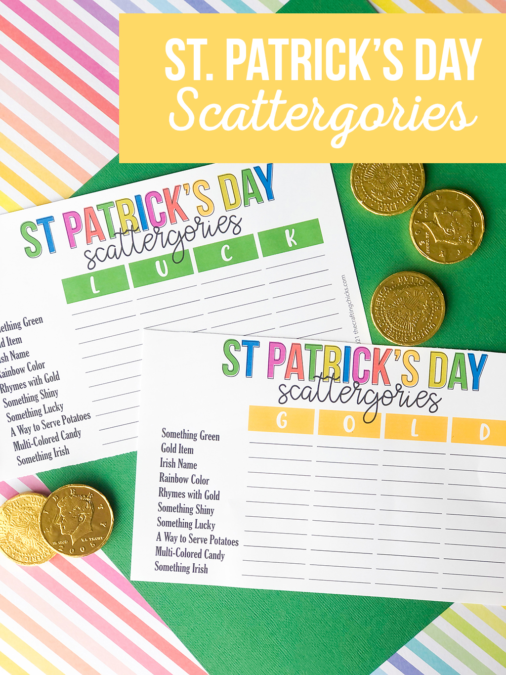 St. Patrick's Day Scattergories on a rainbow colored, and a green paper background with gold coins around.