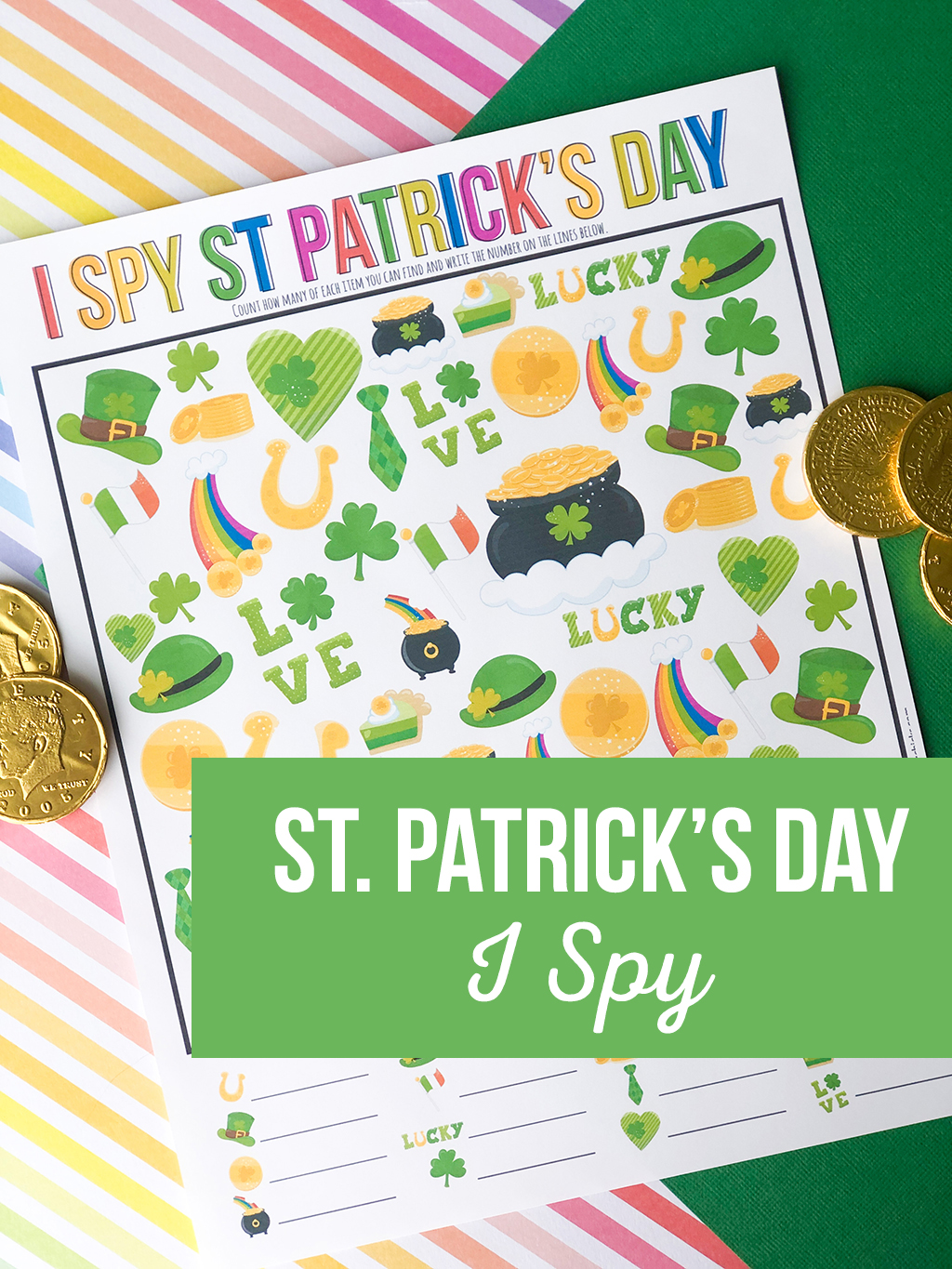 St. Patrick's Day I Spy Printable Game on a rainbow colored, and a green paper background with gold coins around.