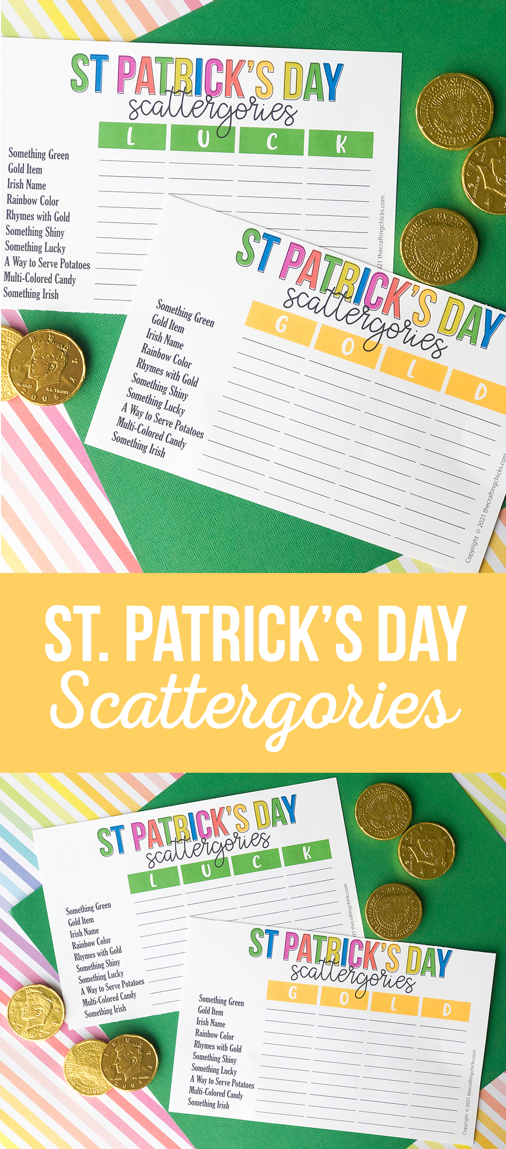 St. Patrick's Day Scattergories Printable Game on a green and rainbow background