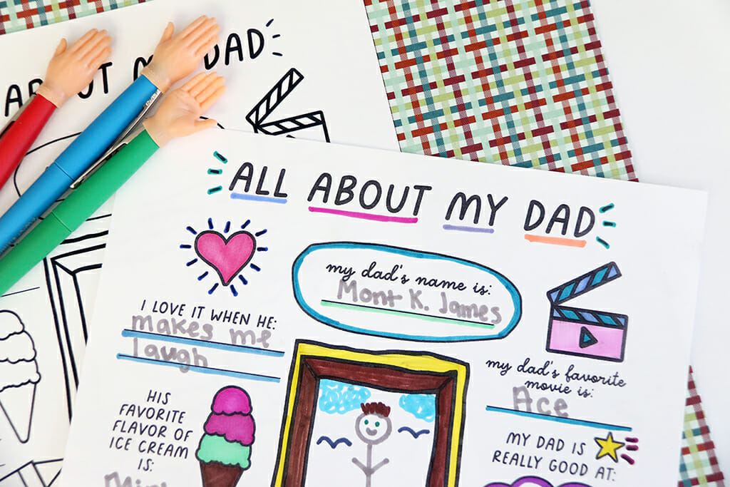 All About My Dad free printable filled out and colored