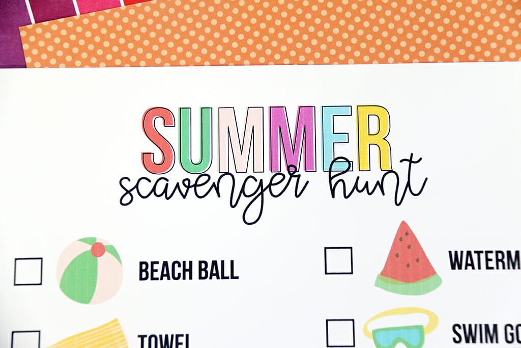 Summer Scavenger Hunt printable on orange paper