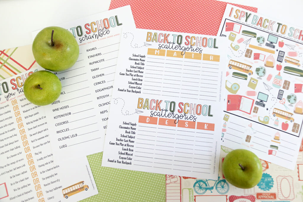 Back to School Printable Pack on red and green background with green apples